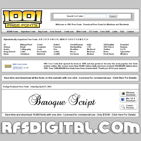1001FreeFonts: Fuentes de texto gratis